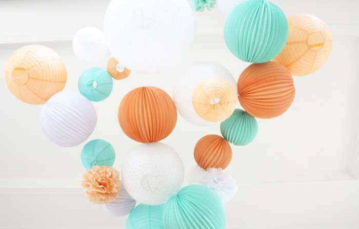 Beautiful wedding decoration in mint and peach