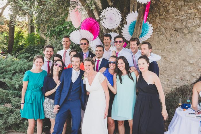 Décoration pour un mariage poétique en bleu, rose et blanc