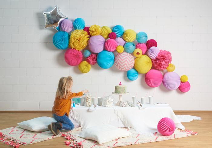 mur de lampions multicolors pour vos fêtes