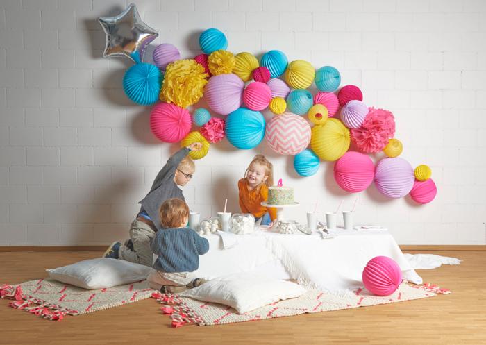 décoration originale et colorée pour un anniversaire d'enfant