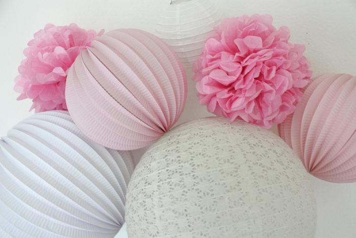 Kit de lampions roses et blancs pour chambre de petite fille