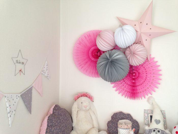 Décoration en papier, lanternes, rosaces, lampions et étoiles pour la chambre de bébé